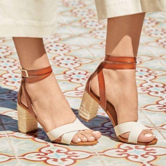 Maeve Criss Cross Heeled Sandal